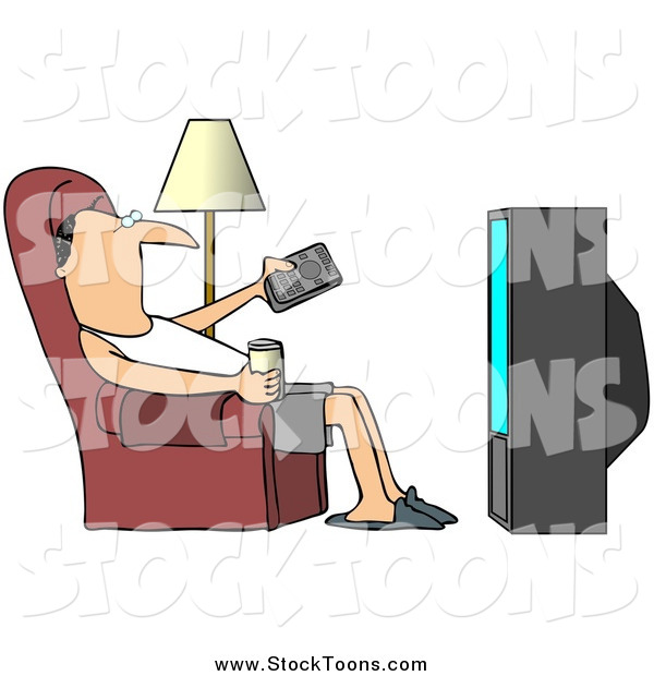 Stock Cartoon of a Relaxed White Man Slouching in a Chair with a Canned Beverage, Pointing a Remote at a Television
