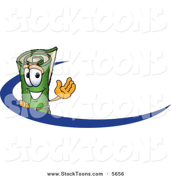 Stock Cartoon of a Rolled Green Carpet Mascot Cartoon Character Logo