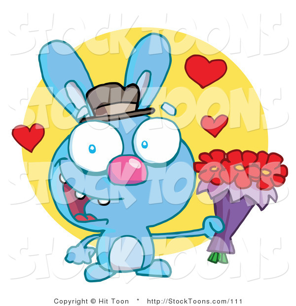 Stock Cartoon of a Romantic Blue Rabbit with Hearts