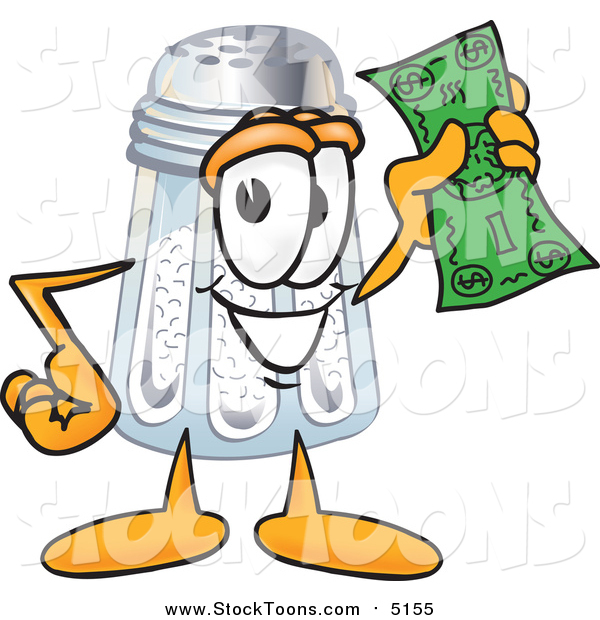 Stock Cartoon of a Salt Shaker Character Holding a Dollar Bill