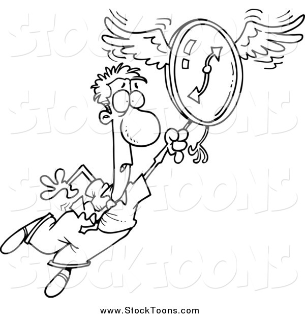Stock Cartoon of a Scared Man Flying Away with a Clock