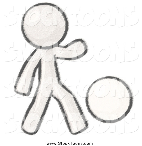 Stock Cartoon of a Sketched Man Kicking a White Ball