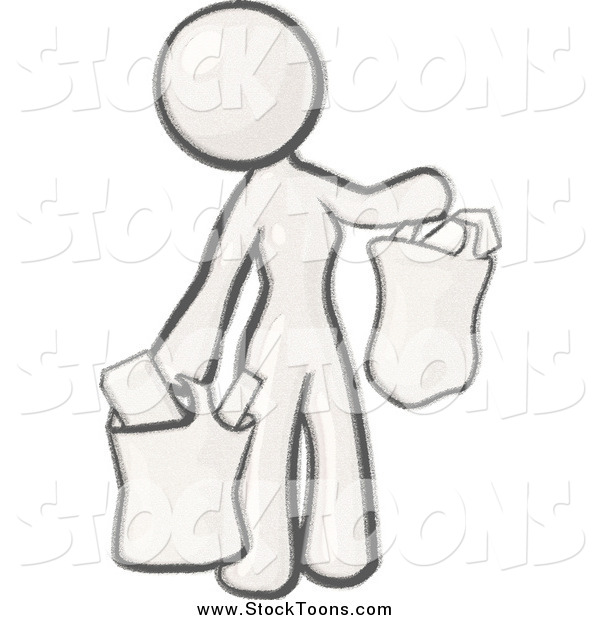 Stock Cartoon of a Sketched Woman Carrying Paper Grocery Bags