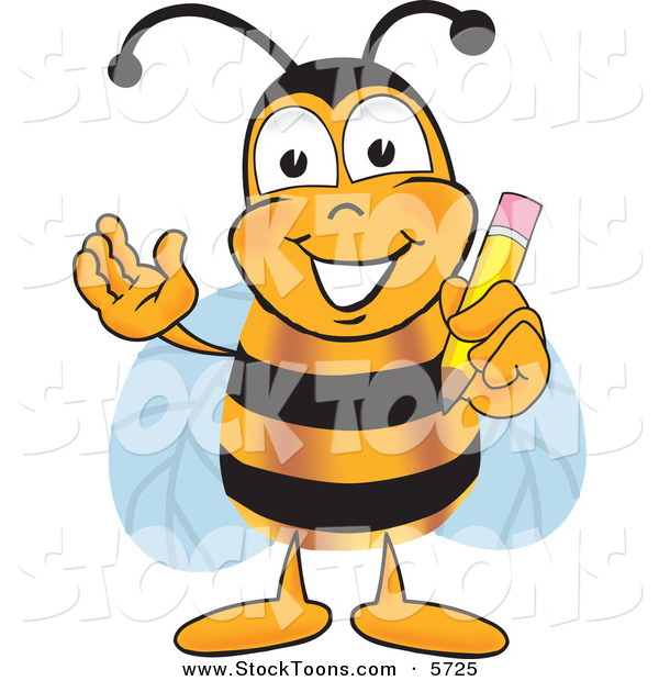 Stock Cartoon of a Smart Bee Mascot Cartoon Character Holding a Pencil
