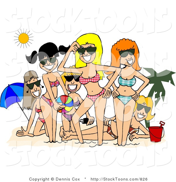 Stock Cartoon of a Smiling Beach Girls