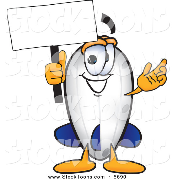 Stock Cartoon of a Smiling Blimp Mascot Cartoon Character Holding a Blank White Sign