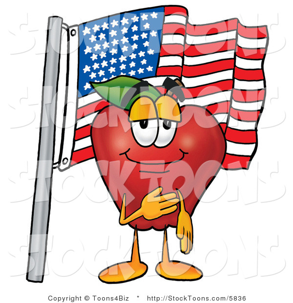 Stock Cartoon of a Smiling Patriotic Red Delicious Apple Character Mascot Giving the Pledge of Allegiance in Front of an American Flag