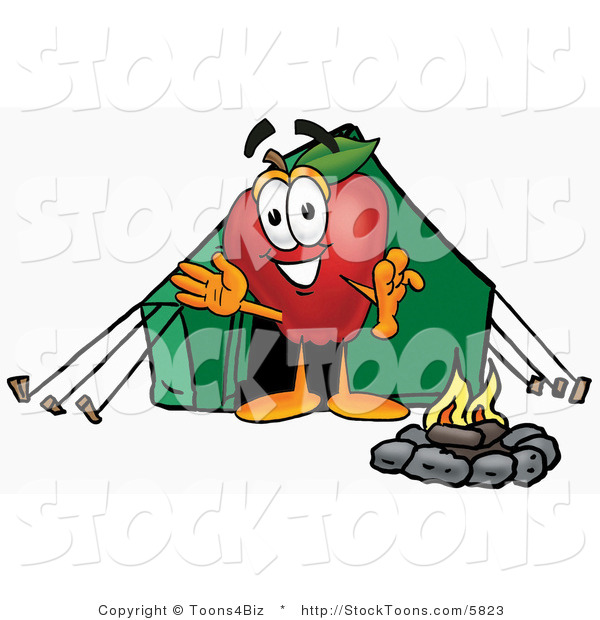 Stock Cartoon of a Smiling Red Apple Character Mascot Camping with a Tent and a Fire