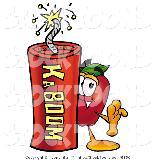 Stock Cartoon of a Smiling Red Apple Character Mascot Standing with a Stick of Dynamite Explosives