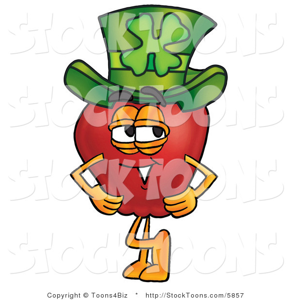 Stock Cartoon of a Smiling Red Apple Character Mascot Wearing a Green Paddy's Day Hat with a Four Leaf Clover on It