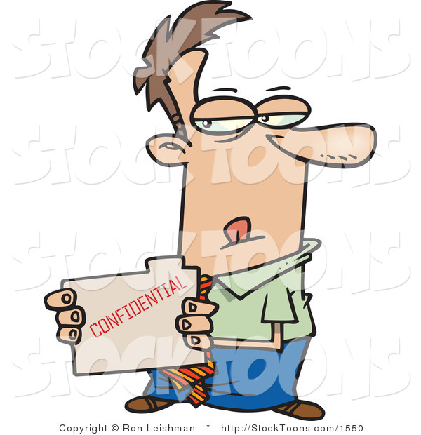 Stock Cartoon of a Sneaky Business Man Looking at a File