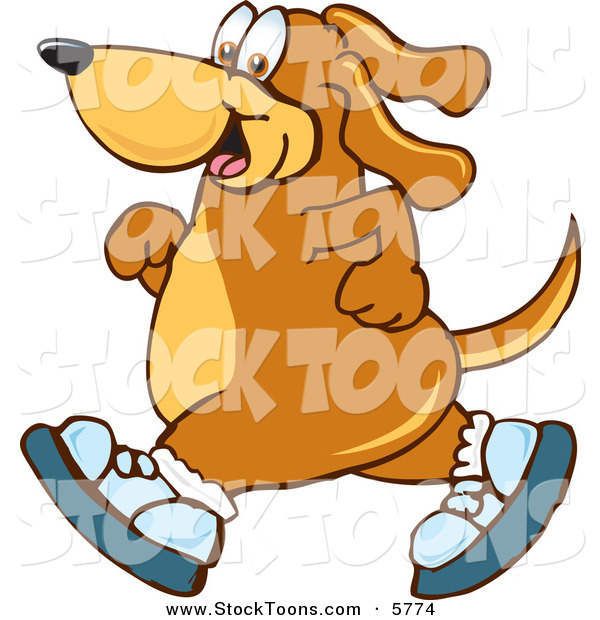 Stock Cartoon of a Sporty Brown Dog Mascot Cartoon Character Wearing Tennis Shoes and Taking a Walk