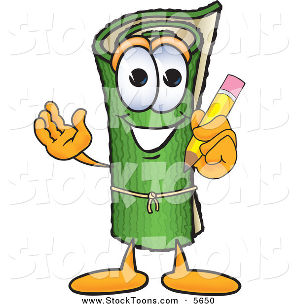 Stock Cartoon of a Sporty Green Carpet Mascot Cartoon Character Holding a Pencil