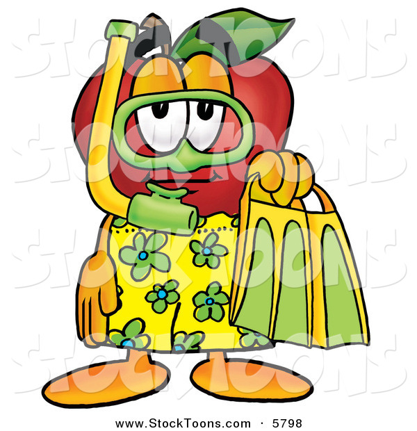 Stock Cartoon of a Sporty Happy Red Apple Character Mascot in Green and Yellow Snorkel Gear