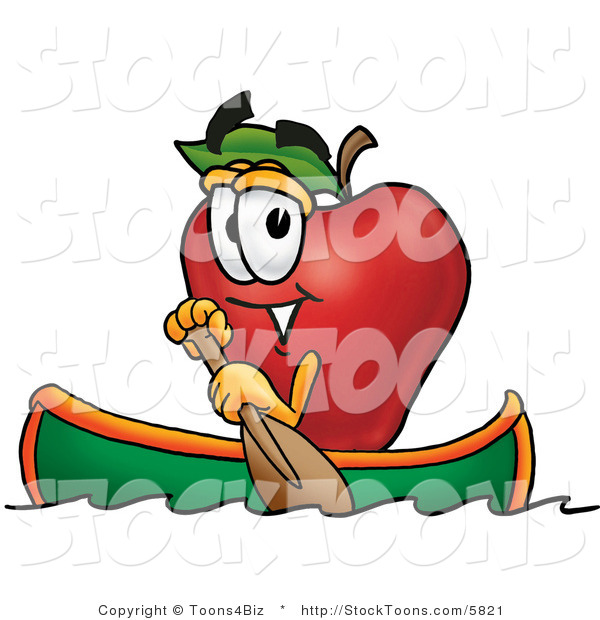 Stock Cartoon of a Sporty Red Apple Character Mascot Rowing a Green Boat