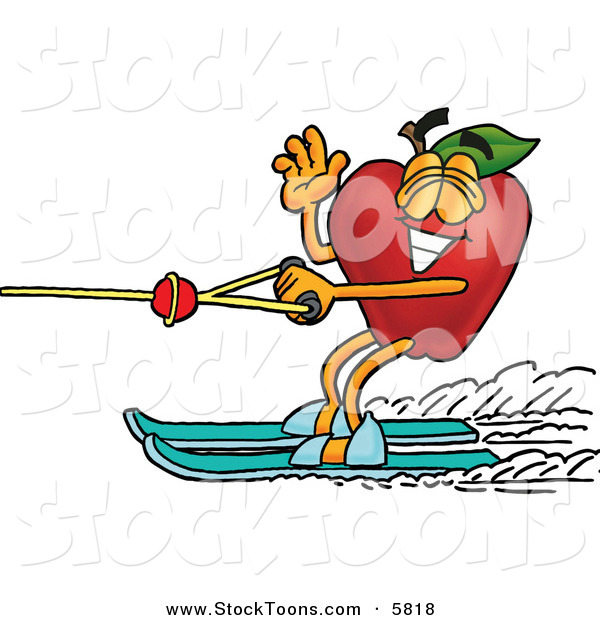 Stock Cartoon of a Sporty Red Apple Character Mascot Waving and Water Skiing LeftSporty Red Apple Character Mascot Waving and Water Skiing Left