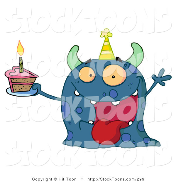 Stock Cartoon of a Spotted Blue Birthday Monster
