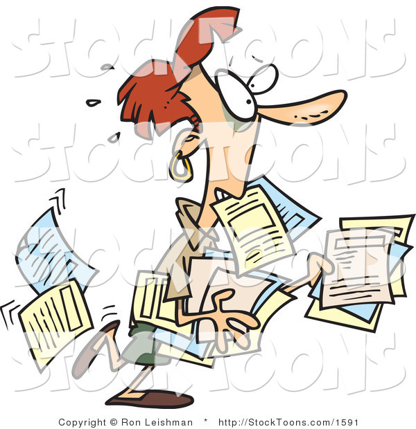 Stock Cartoon of a Stressed Business Woman Carrying Documents