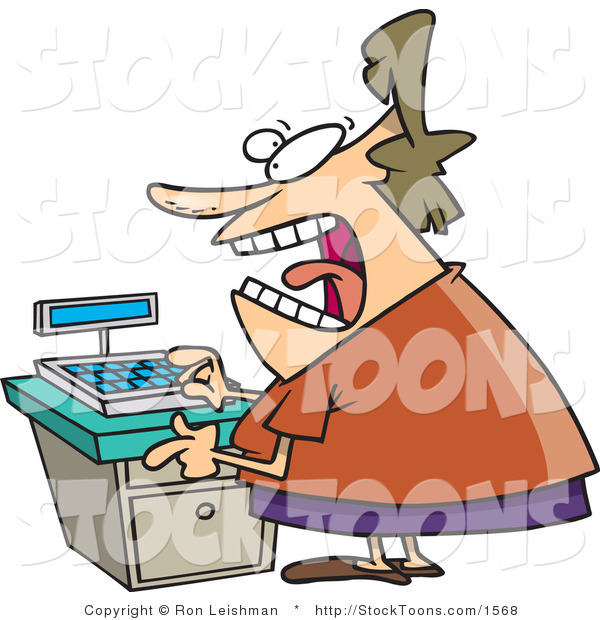 Stock Cartoon of a Stressed out Clerk Woman at a Cash Register