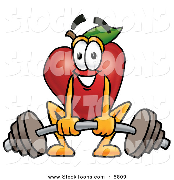 Stock Cartoon of a Strong and Nutritious Smiling Red Apple Character Mascot Lifting a Heavy Barbell