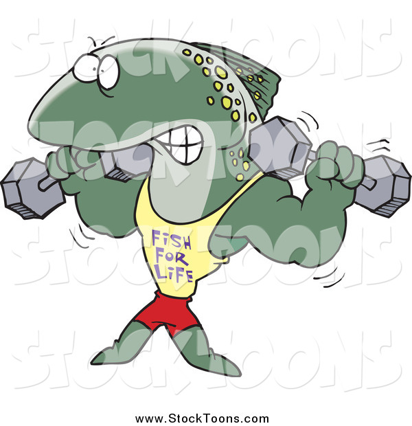 Stock Cartoon of a Strong Fish Lifting Weights in a Fish for Life Shirt