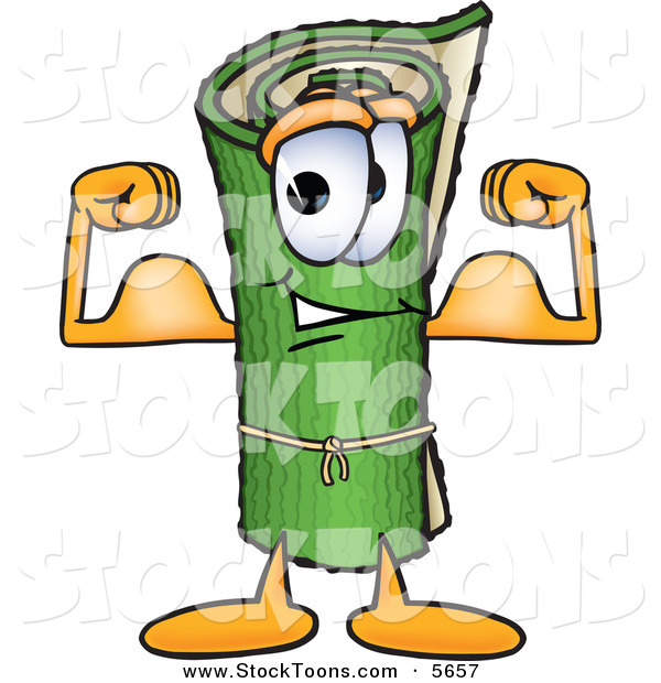 Stock Cartoon of a Strong Green Carpet Mascot Cartoon Character Flexing His Arm Muscles