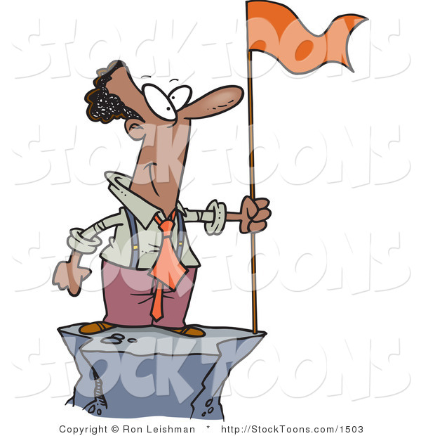 Stock Cartoon of a Successful Black Business Man Standing on a Mountain Top with a Red Flag