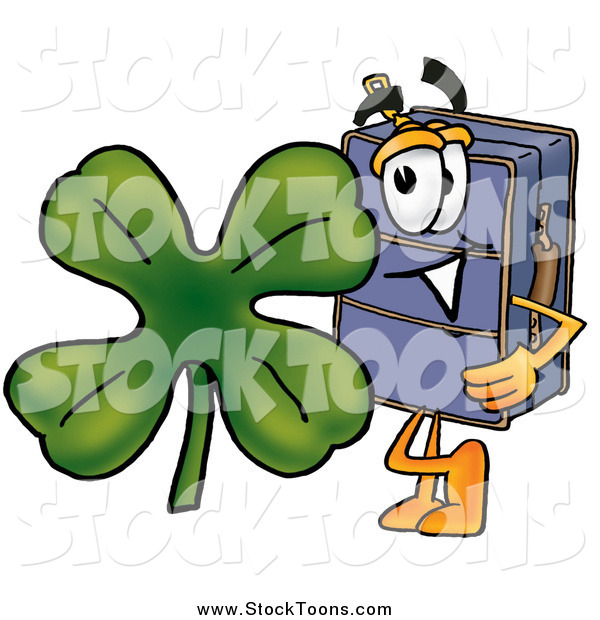 Stock Cartoon of a Suitcase with a St Patricks Day Shamrock Clover