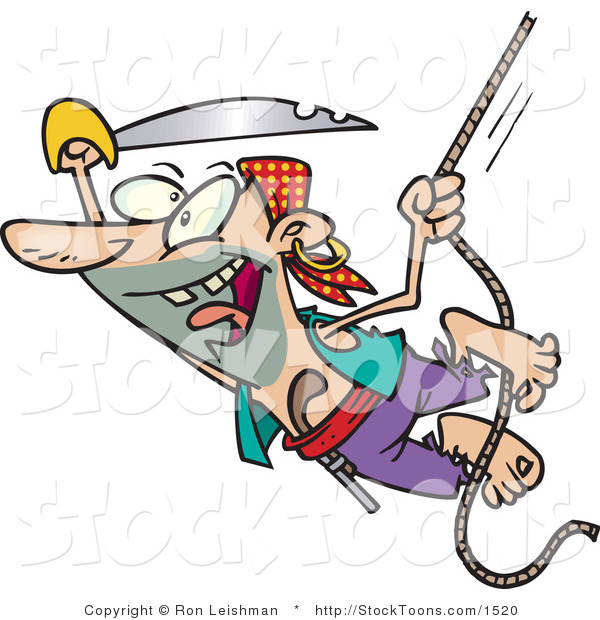 Stock Cartoon of a Swinging Pirate with a Sword