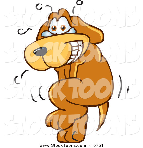 Stock Cartoon of a Tearful Brown Dog Mascot Cartoon Character Trying to Hold It In, but Has to Go Pee
