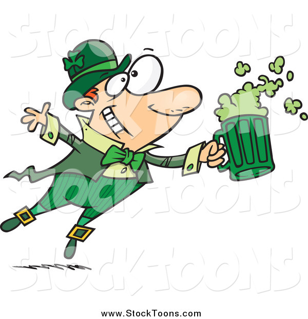 Stock Cartoon of a Toasting Leprechaun with Green Beer