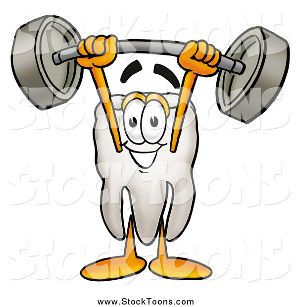 Stock Cartoon of a Tooth Mascot Lifting a Barbell over His Head