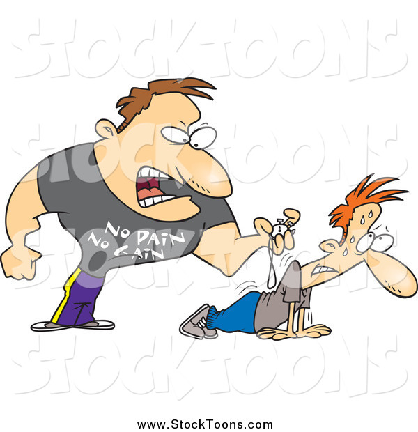 Stock Cartoon of a Tough Bugg Male Trainer Making His Client Do Pushups