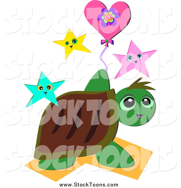 Stock Cartoon of a Turtle with Stars and a Floral Heart Balloon