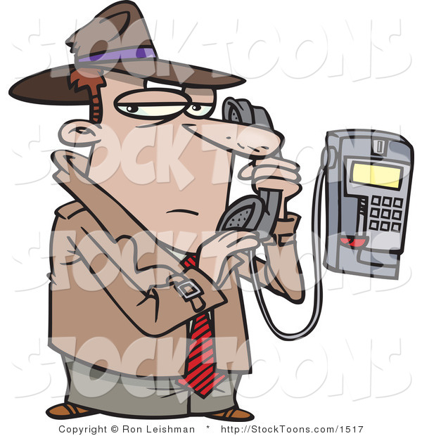 Stock Cartoon of a Undercover Detective Talking Secretively on a Telephone