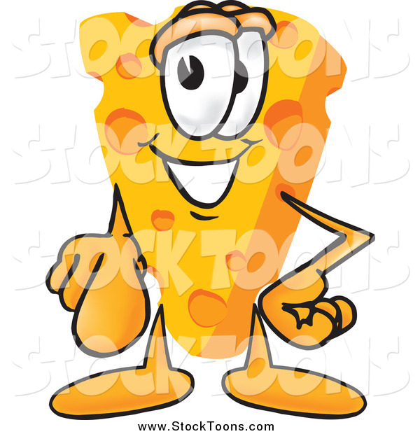 Stock Cartoon of a Wedge of Cheese Mascot Pointing Outwards at the Viewer