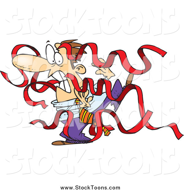 Stock Cartoon of a White Businessman Being Attacked by Red Tape