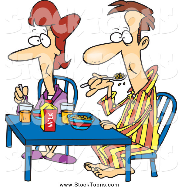Stock Cartoon of a White Couple Eating Breakfast Together