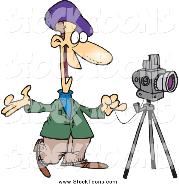 Stock Cartoon of a White Male Friendly Photographer