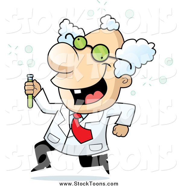 Stock Cartoon of a White Male Scientist Running with a Test Tube
