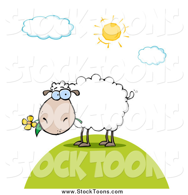 Stock Cartoon of a White Sheep Eating a Daisy Flower on a Sunny Day