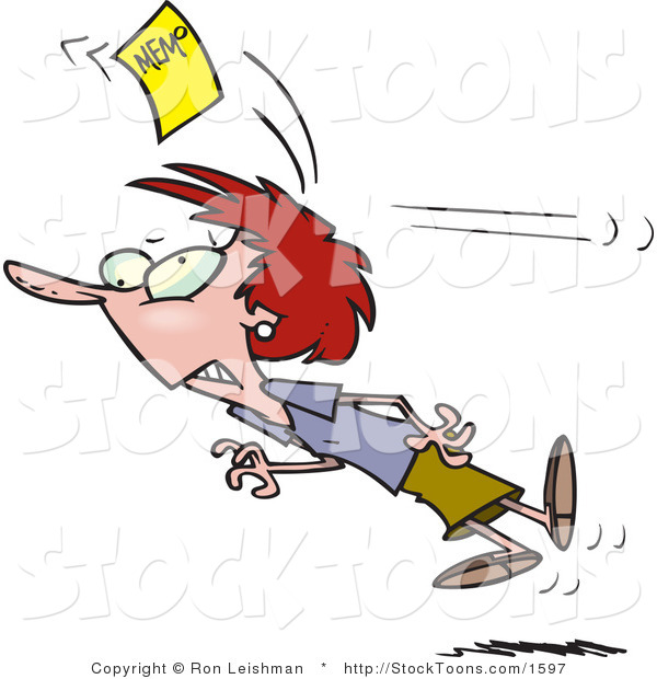 Stock Cartoon of a Woman Chasing a Yellow Memo Slip