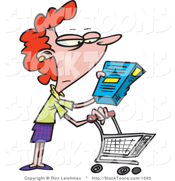 Stock Cartoon of a Woman in a Grocery Store