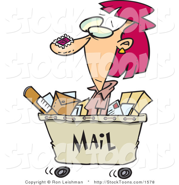 Stock Cartoon of a Woman in a Mail Cart, Stamped with Postage