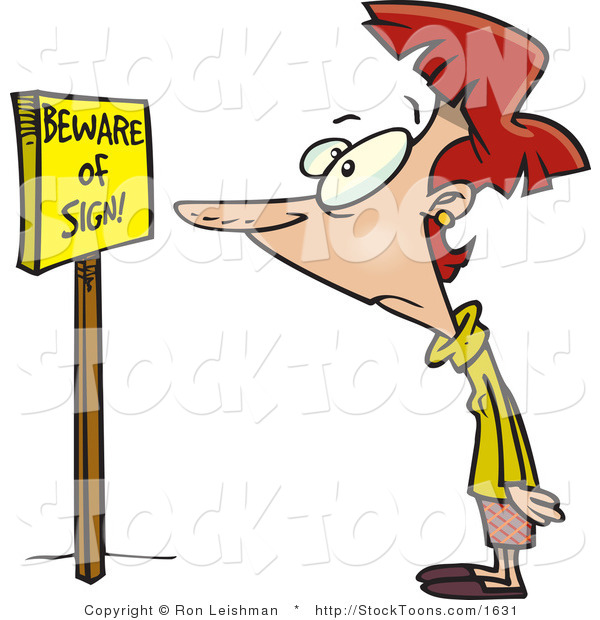 Stock Cartoon of a Woman Reading a Sign That Says Beware