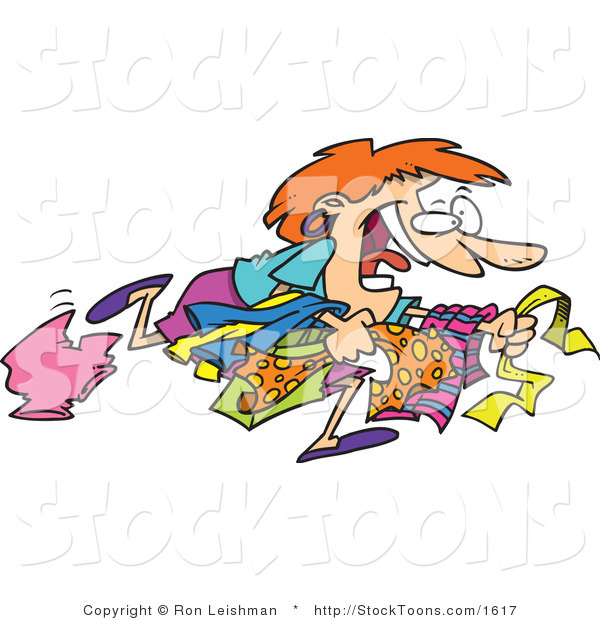 Stock Cartoon of a Woman Running to Get the Best Bargain