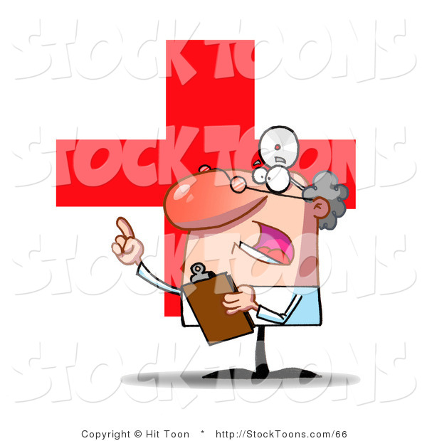 Stock Cartoon of a Worried Doctor Guy Holding a Clipboard