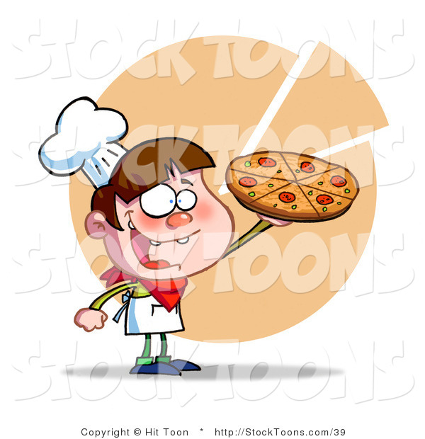 Stock Cartoon of a Young Happy Boy Chef