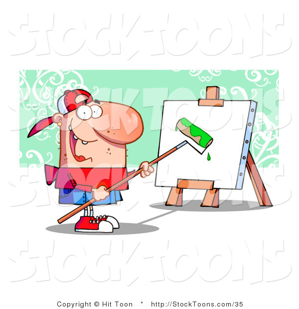 Stock Cartoon of a Young Painter Guy Wearing a Hat