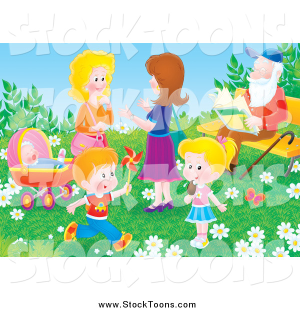 Stock Cartoon of Adults and Children in a Park on a Spring Day